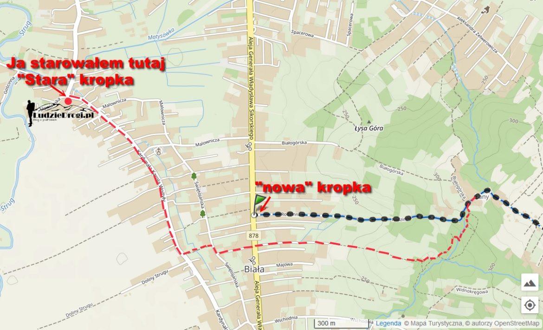 Kropka czerwona ilogo, strat mojejwyprawy, czerwona przerywana linia pokazuje już historyczny przebieg szlaku, którywterenie nadal można odnaleźć iktórymszedłem.  Podkład mapy, źródło: Mapa Turystyczna , mapa-turystyczna.pl, data dostępu: 29.01.2021